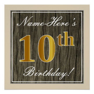 Elegant, Faux Wood, Faux Gold 10th Birthday + Name Poster
