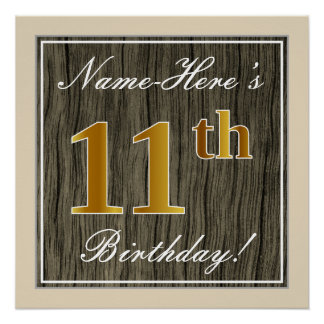 Elegant, Faux Wood, Faux Gold 11th Birthday + Name Poster