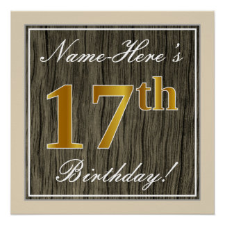Elegant, Faux Wood, Faux Gold 17th Birthday + Name Poster