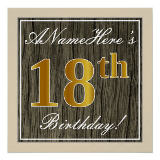 Elegant, Faux Wood, Faux Gold 18th Birthday + Name Poster