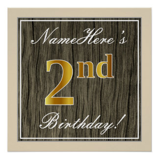 Elegant, Faux Wood, Faux Gold 2nd Birthday + Name Poster