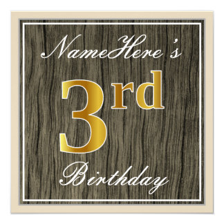 Elegant, Faux Wood, Faux Gold 3rd Birthday + Name Card