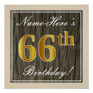 Elegant, Faux Wood, Faux Gold 66th Birthday + Name Poster