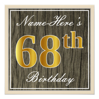 Elegant, Faux Wood, Faux Gold 68th Birthday + Name Card