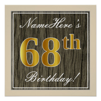 Elegant, Faux Wood, Faux Gold 68th Birthday + Name Poster