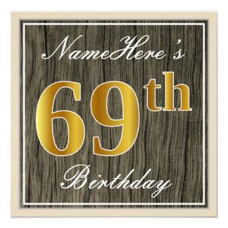 Elegant, Faux Wood, Faux Gold 69th Birthday + Name Card