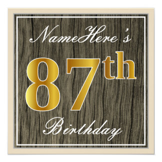 Elegant, Faux Wood, Faux Gold 87th Birthday + Name Card