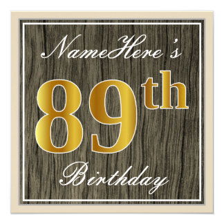 Elegant, Faux Wood, Faux Gold 89th Birthday + Name Card