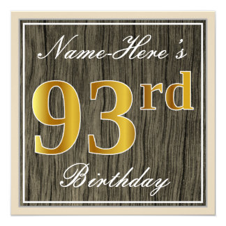Elegant, Faux Wood, Faux Gold 93rd Birthday + Name Card