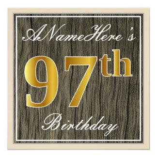 Elegant, Faux Wood, Faux Gold 97th Birthday + Name Card
