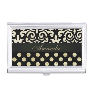 Elegant Feminine Black Damask & Polka Dots Business Card Holder
