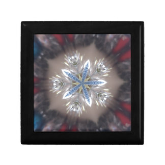 Elegant Festive Christmas Star Shiny Blue White Gift Box