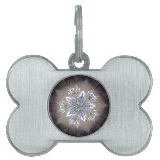 Elegant Festive Christmas Star Shiny Blue White Pet Tag