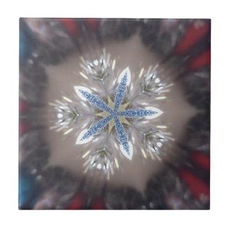 Elegant Festive Christmas Star Shiny Blue White Tile