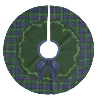 Elegant Festive Gordon Tartan Plaid Tree Skirt Brushed Polyester Tree Skirt