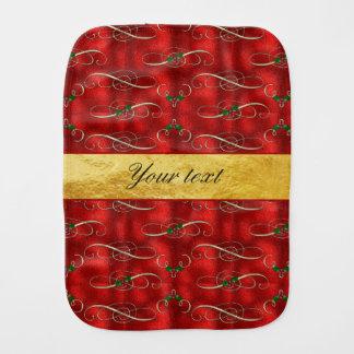 Elegant Festive Holly on Faux Red Foil Baby Burp Cloths