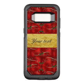 Elegant Festive Holly on Faux Red Foil OtterBox Commuter Samsung Galaxy S8 Case