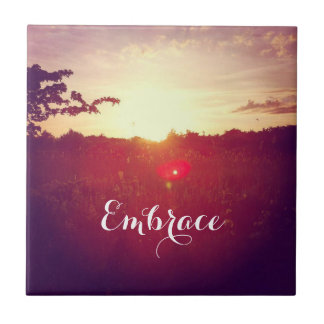 Elegant Field Sunset With Lens Flare & Custom Text Tile