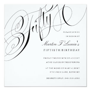 Elegant Fiftieth Birthday Party Invitation Square