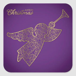 Elegant filigree angel square sticker
