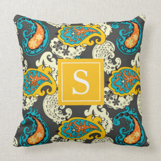 Elegant Filigree Paisley Swirls Monogram Throw Pillow