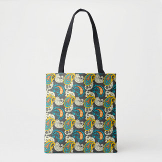 Elegant Filigree Paisley Swirls Pattern Tote Bag