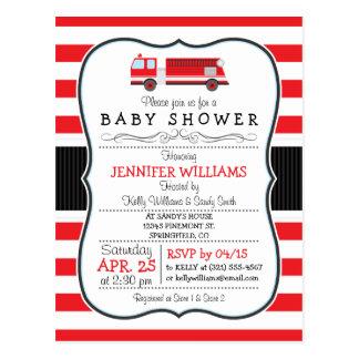 Elegant Fire Truck Baby Shower Invitation Postcard
