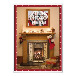 "Elegant Fireplace Christmas Party / Family Reunion 5"" X 7"" Invitation Card"
