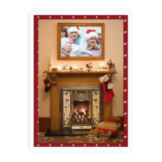 "Elegant Fireplace Christmas Party / Family Reunion 5"" X 7"" Invitation Card"
