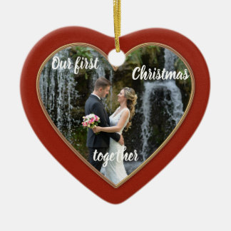 Elegant First Christmas Together Photo Ornament