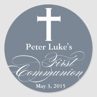 Elegant First Communion Party Favor Labels|Tags Round Sticker