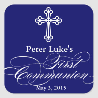 Elegant First Communion Party Favor Labels|Tags Square Sticker