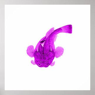 Elegant Fish in purple / ultraviolet Poster
