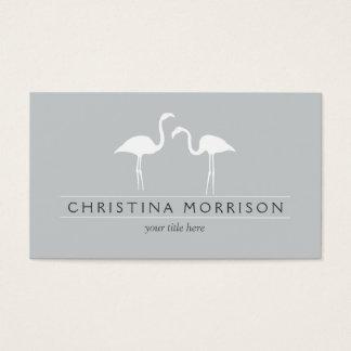 Elegant Flamingos on Slate Blue Business Card
