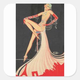 Elegant Flapper Square Sticker
