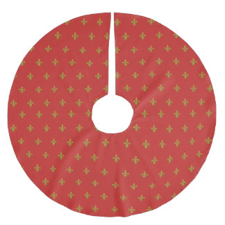 Elegant Fleur de Lis Christmas Tree Skirt Gold Red