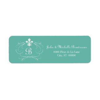 Elegant Fleur de Lis Monogram Étiquettes D'adresse Retour