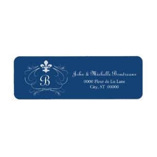 Elegant Fleur de Lis Monogram Étiquette D'adresse Retour