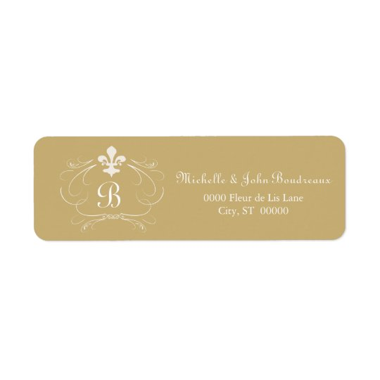 Elegant Fleur de Lis Monogram Return Address Label
