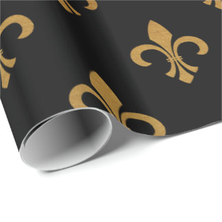 elegant Fleur De Lis pattern black gold party wrap