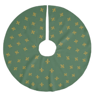Elegant Fleur de Lis Tree Skirt Green and Gold