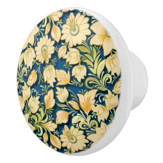 Elegant Floral and Blue Ceramic Knob