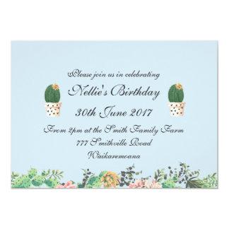 Elegant Floral and Cactus Blue Card