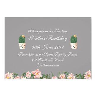 Elegant Floral and Cactus grey Card