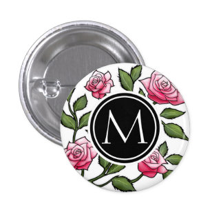 Elegant Floral and Monogram 1 Inch Round Button