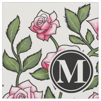 Elegant Floral and Monogram Fabric