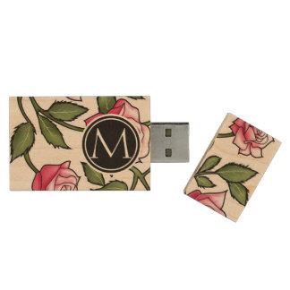 Elegant Floral and Monogram Wood USB 2.0 Flash Drive