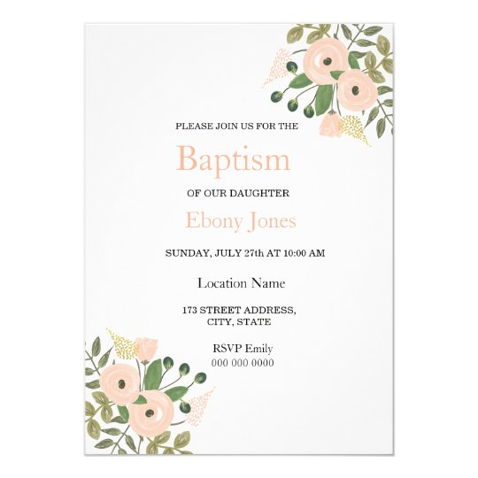 Elegant Floral Beautiful Baptism Invitation