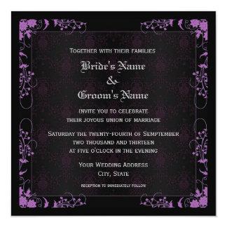 "Elegant Floral Black and Purple Damask Wedding 5.25"" Square Invitation Card"