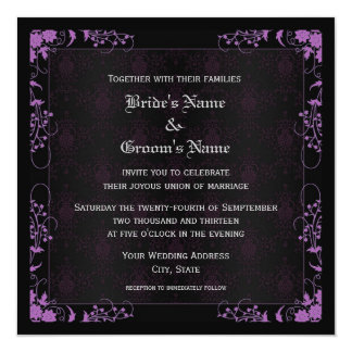 Elegant Floral Black and Purple Damask Wedding Card
